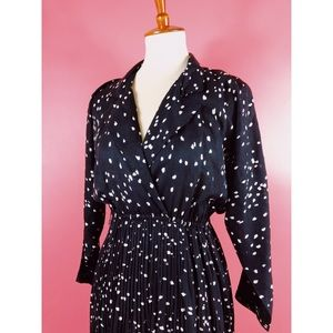 Vtg 80s Polka Dot Aline Midi Dress M